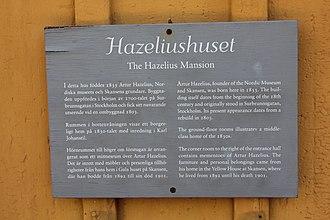 Artur Hazelius - Plaque at Skansen