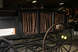 Hearse - Horse-drawn hearse, made at the Maine State Penitentiary in 1895, and used until the 1930s; displayed at the Cole Land Transportation Museum in Bangor, Maine