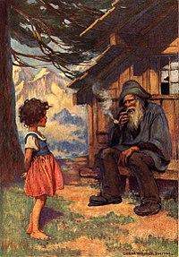 Heidi con su abuelo, dibujo de Jessie Willcox Smith, 1922