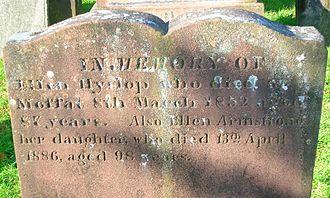 Helen Hyslop - Ellen Hyslop's Gravestone and inscription