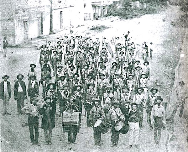 The Hempstead Rifles, a volunteer militia company of the 8th Arkansas Militia Regiment, Hempstead County which became Company B, 3rd Regiment, Arkansas State Troops Hempstead Rifles.jpg