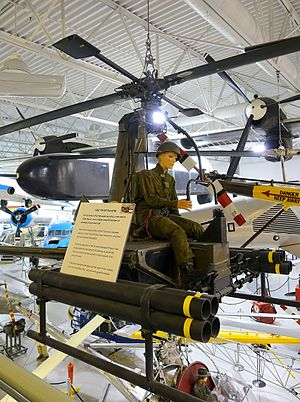 """Hiller YH-32 Hornet - Armed """"Sally Rand"""" version on display at the Hiller Aviation Museum"""