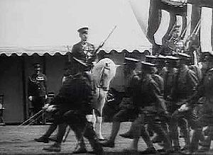 Imperial General Headquarters - Soldiers parading before the Showa Emperor Hirohito on Shirayuki