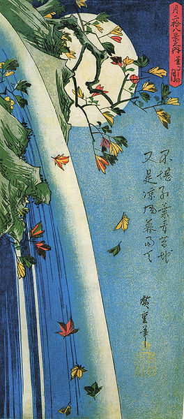 File:Hiroshige, The moon over a waterfall.jpg