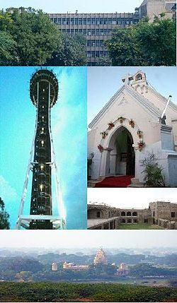 From top going clockwise: District Administrative Complex, St. Thomas Church, Fort of Firoz Shah, Sheela Mata Temple and observatory at OP Jindal Gyan Kendra.