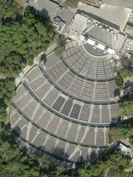 Aerial photograph showing the seating in front of the Hollywood Bowl Hollywood Bowl USGS 2010.jpg