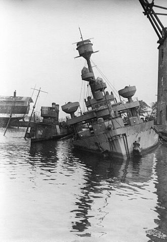 Royal Danish Navy - Coastal defence ship Peder Skram scuttled by the Danish Navy on 29 August 1943