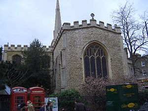 Sidney Street, Cambridge - Holy Trinity Church, on the southern corner with Market Street.