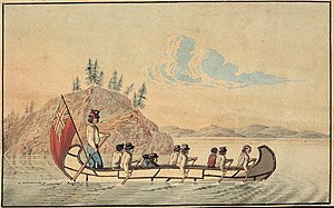 Hudson's Bay Company - Hudson's Bay Company officials in an express canoe crossing a lake, 1825