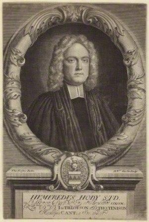 Humphrey Hody - Humphrey Hody, line engraving by Michael Vandergucht