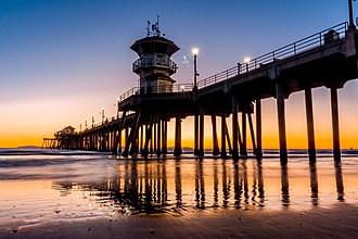 Huntington Beach Pier - The pier at sunset