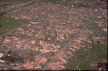The damage caused by Hurricane Andrew is a good example of the damage caused by a category 5 Tropical cyclone Hurricane andrew fema 2563.jpg