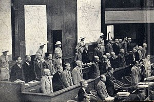 Crimes against humanity - The defendants at the Tokyo International Tribunal.  General Hideki Tojo was one of the main defendants, and is in the centre of the middle row.