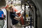 ISS-49 Kate Rubins works with an oxygen tank in the Quest airlock.jpg