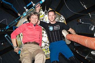Peggy Whitson - Whitson with fellow Soyuz MS-03 crew member Thomas Pesquet inside the BEAM