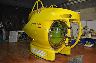 Submersible - Ictineu 3 is a manned submersible with a large semi-spheric acrylic glass viewport capable of reaching depths of 1,200 m (3,900 ft).