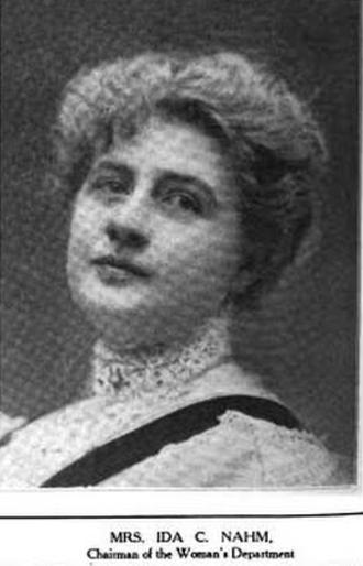 Ida C. Nahm - Ida C. Nahm, from a 1910 publication.