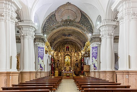 View of the main nave of teh  church of Santa María de África, a Roman Catholic church located in the city of Ceuta, a Spanish exclave on the north coast of Africa.