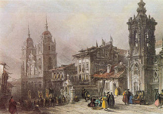 Noviciado de la Compañía de Jesús (Madrid) - The street Calle Ancha de San Bernardo (Madrid) in the first third of the 19th century, with the Iglesia de Montserrat to the right and the Oratorio de los Padres del Salvador del Mundo to the left (engraving by James B. Allen, based on an original drawing of the painter David Roberts, made during his trip to Spain in 1832-33).