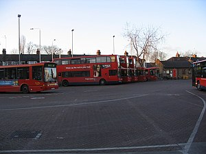 London Borough of Redbridge - Ilford Hainault Street Bus Station, where nine different bus routes terminate.