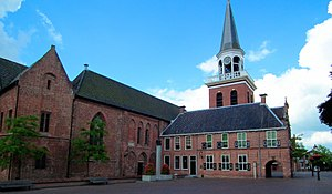 Appingedam - Nicholas Church (left) and renaissance town hall (right) in Appingedam