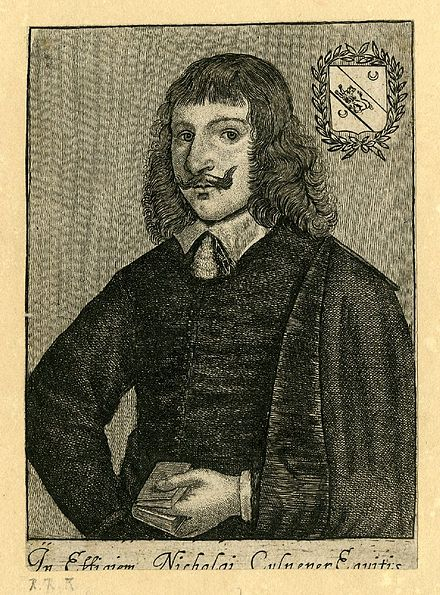 Nicholas Culpeper was an English botanist, herbalist, physician, and astrologer. (etching by Richard Gaywood between 1644 and 1662) In Effigiam Nicholai Culpeper Equitis by Richard Gaywood.jpg
