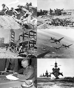 Collage of World War II images.