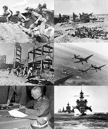 Montage of black and white photographs from the Second World War. Clockwise from top left: Chinese forces in the Battle of Wanjialing, Australian 25-pounder guns during the First Battle of El Alamein, German Stuka dive bombers on the Eastern Front winter 1943–1944, US naval force in the Lingayen Gulf, Wilhelm Keitel signing the German Surrender, Soviet troops in the Battle of Stalingrad