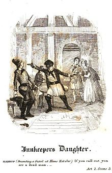 """If you call out you are a dead man!"": illustration from the published version of George Soane's The Inn-Keeper's Daughter. It was Soane's first melodrama, based on the poem ""Mary, the Maid of the Inn"", by Robert Southey.[7] (Source: Wikimedia)"