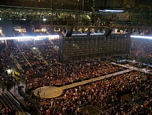 B-stage - An example of a B-stage from U2's Innocence + Experience Tour. The circular B-stage (left) connects to the main stage (right) by a walkway.