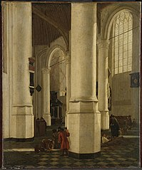 Interior of the Oude Kerk, Delft, with the tomb of Pieter Pietersz Heijn (15881629), vice admiral of Holland