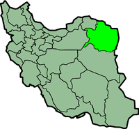 Map of Iran with रज़ावी खोरसान highlighted.