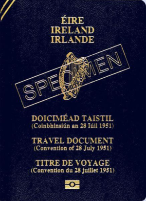Refugee travel document - A specimen Irish refugee travel document