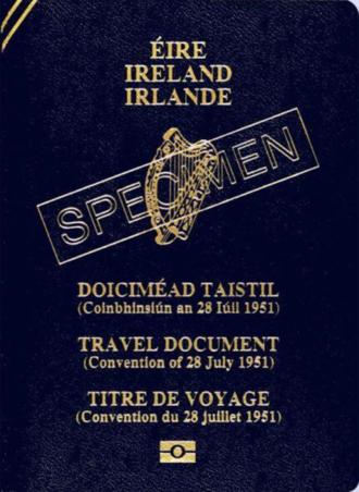Refugee travel document - A specimen Irish refugee travel document
