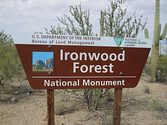 Ironwood Forest National Monument - Ironwood Forest sign at the Silver Bell Cemetery
