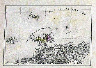 Margarita Island - 1840 map by Agustín Codazzi.