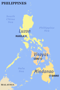 Map of the Philippines showing the island groups of Luzon, Visayas and Mindanao