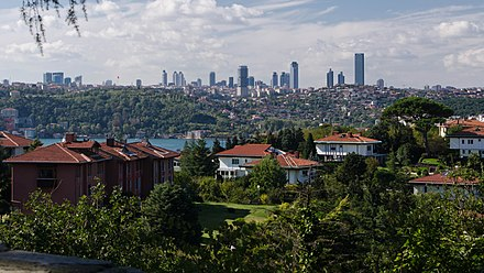 View of Levent from the Asian side of the Bosphorus Istanbul Levent skyline.jpg