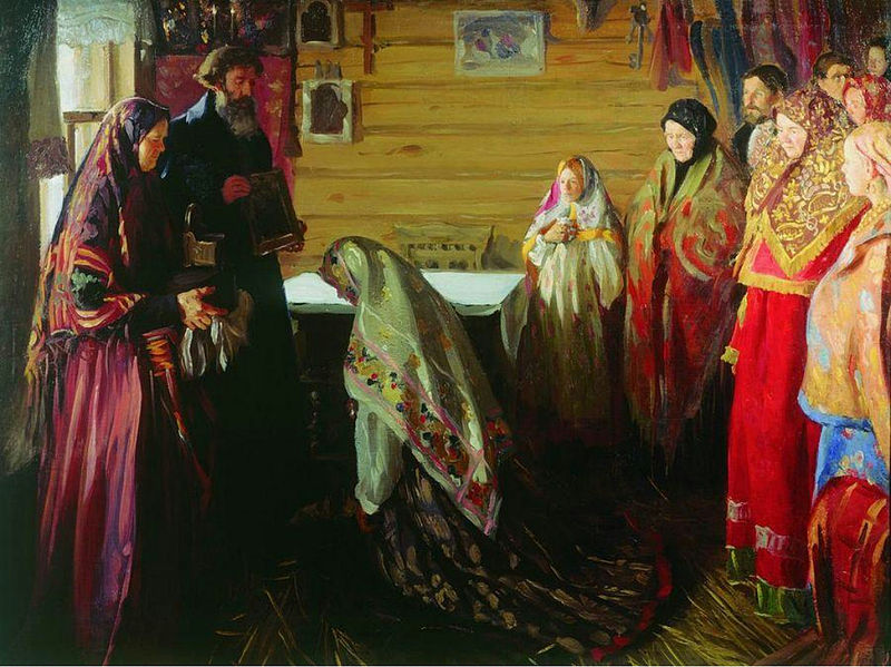 File:Ivan Kulikov Ancient rite of blessing the bride in Murom 1909.jpg
