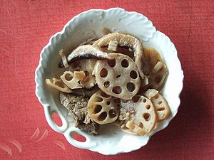 An example of lotus root food, boiled and seas...