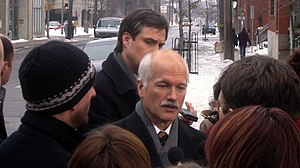 In a media scrum during the 2006 winter election campaign.
