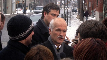 In a media scrum during the 2006 winter election campaign. Jacklaytonoutside.jpg