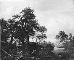 Jacob van Ruisdael: A wooded river landscape with a low waterfall