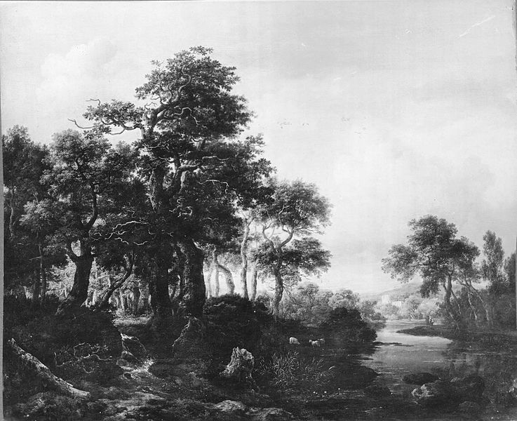 File:Jacob van Ruisdael - A wooded river landscape with a low waterfall.jpg