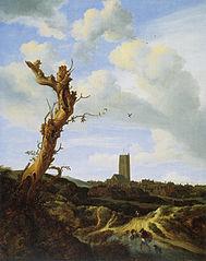 Vieil orme avec vue d'Egmond aan Zee