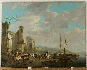 Kustlandschap met figuren bij een ruïne