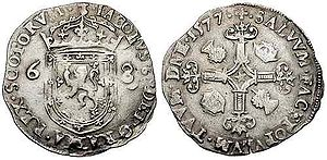 Merk (coin) - Crowned Scottish arms flanked by denomination: 6 and 8