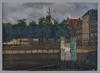Blauwe molen en Veemarkt met op voorgrond aan de kade een reclameplakbord