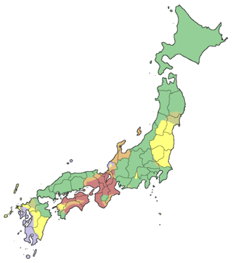 Pitch accent - Map of Japanese pitch-accent types. Red: Tone plus variable downstep. Green: Variable downstep in accented words. Lavender: Fixed downstep in accented words. Yellow: No distinction.