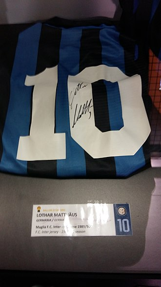 Lothar Matthäus - The number 10 Inter Milan jersey of Matthäus in the San Siro museum